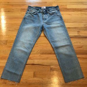 Zara hi rise frayed hem straight leg jeans Sz 6